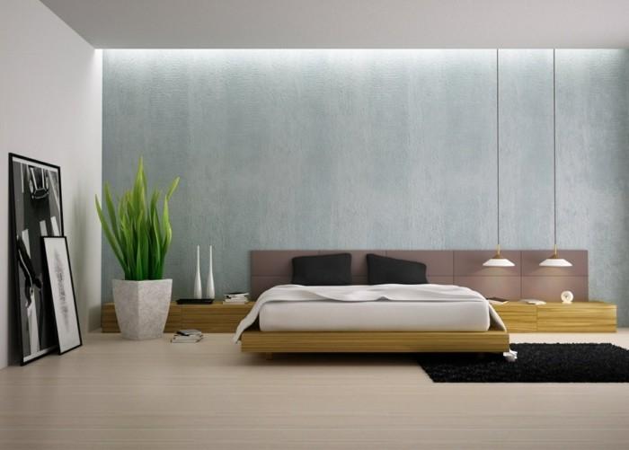 amenagement-chambre-scandinave-zen-lignes-droites-revetement-sol-clair-suspensions-scandinaves-lit-en-bois-matelas-apparent-mur-de-fond-bleu-avec-eclairage-led-integre