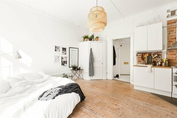 amenager-petit-espace-parquet-en-bois-cuisine-rustique-mur-en-pierre