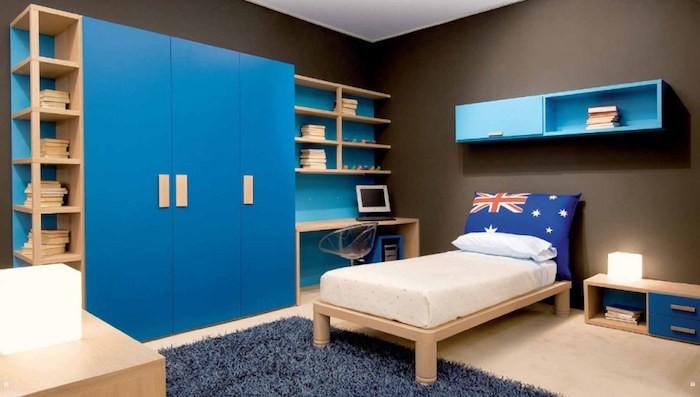 armoire coulissante bois porte bleue dressing enfant design original soldes