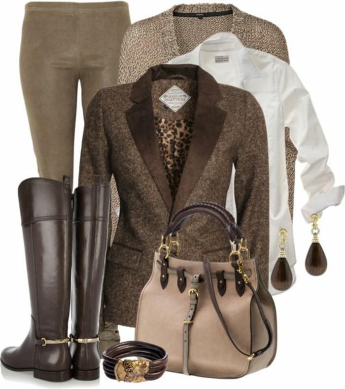 association-couleur-vetement-manteau-marron-avec-motifs-tigre-chemise-blanche