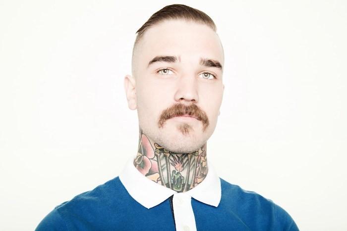 barbe avec crane rasé moustache mexique style hipster vintage