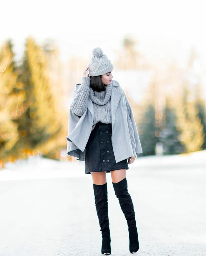 belle-femme-tenue-chic-jupe-bien-s-habiller-en-hiver-idées-de-look-femme