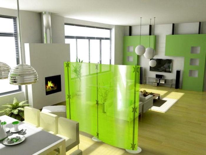 bibliothèque separation piece séparateur de pièce idee rideau design meuble sepateur amovible vert