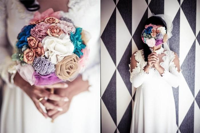 bouquet-de-mariage-constitué-de-fleurs-en-tissu-idee-comment-faire-une-fleur-en-tissu