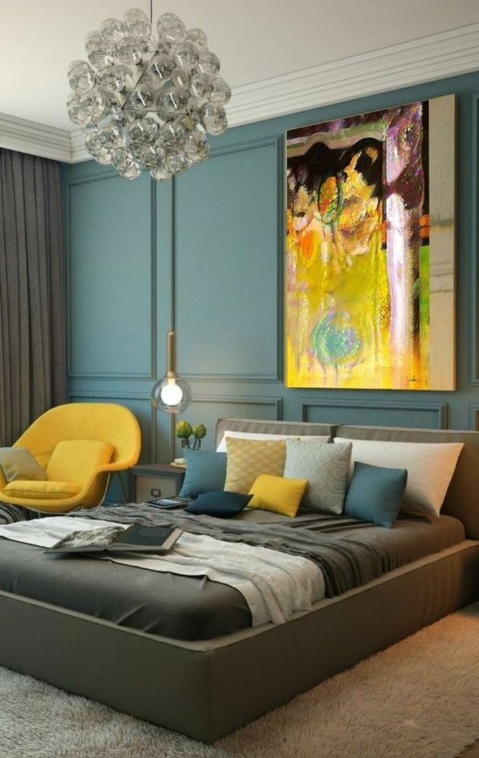 chambre couleur gris et bleu id e inspirante pour la conception de la maison. Black Bedroom Furniture Sets. Home Design Ideas