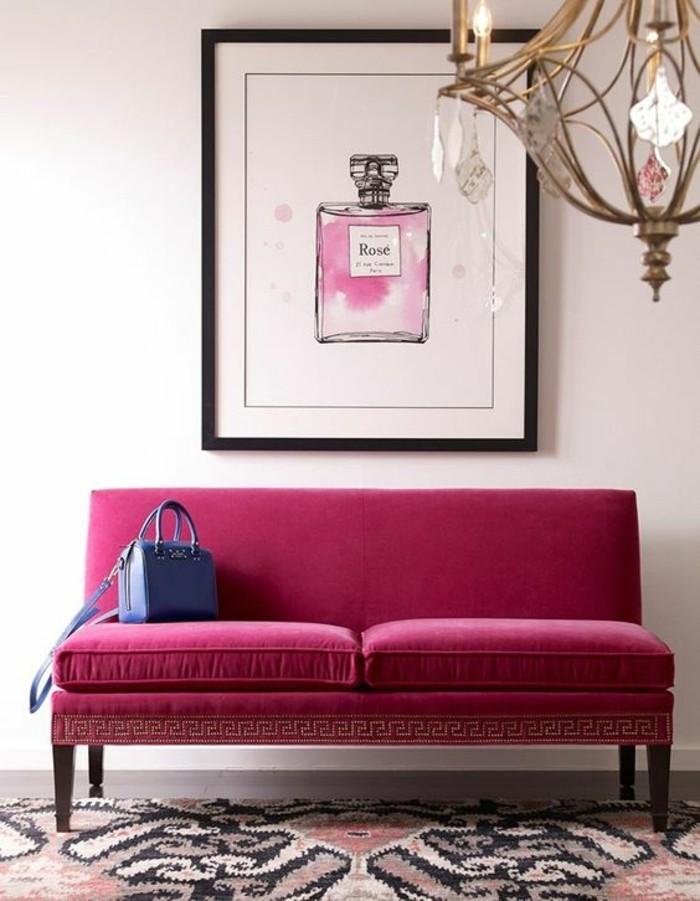 chambre-couleur-framboise-tableau-art-grand-plafonnier