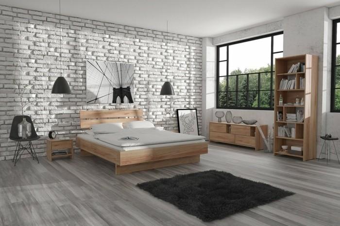 chambre-scandinave-style-urbain-meuble-scandinave-bois-lit-bibliotheque-buffet-bas-scandinave-mur-en-briques-blanc-tapis-gris-decor-en-noir-et-blanc