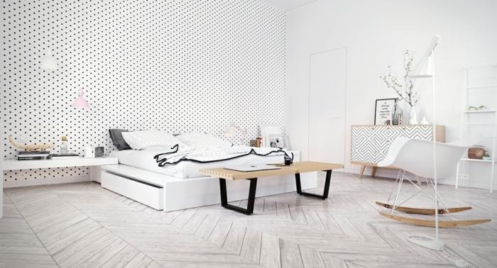 chambre-tout-en-blanc-papier-peint-blanc-a-petits-points-noirs-meuble-customise-a-motifs-geometriques-chaise-a-bascule-scandinave-parquet-scandinave