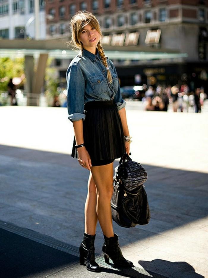 veste en cuir et chemise en jean les vestes la mode sont populaires partout dans le monde. Black Bedroom Furniture Sets. Home Design Ideas