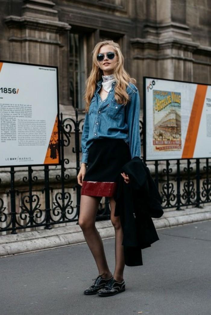 chemise-en-jeans-femme-lunettes-de-soleil-noirs-echarpe-blanche