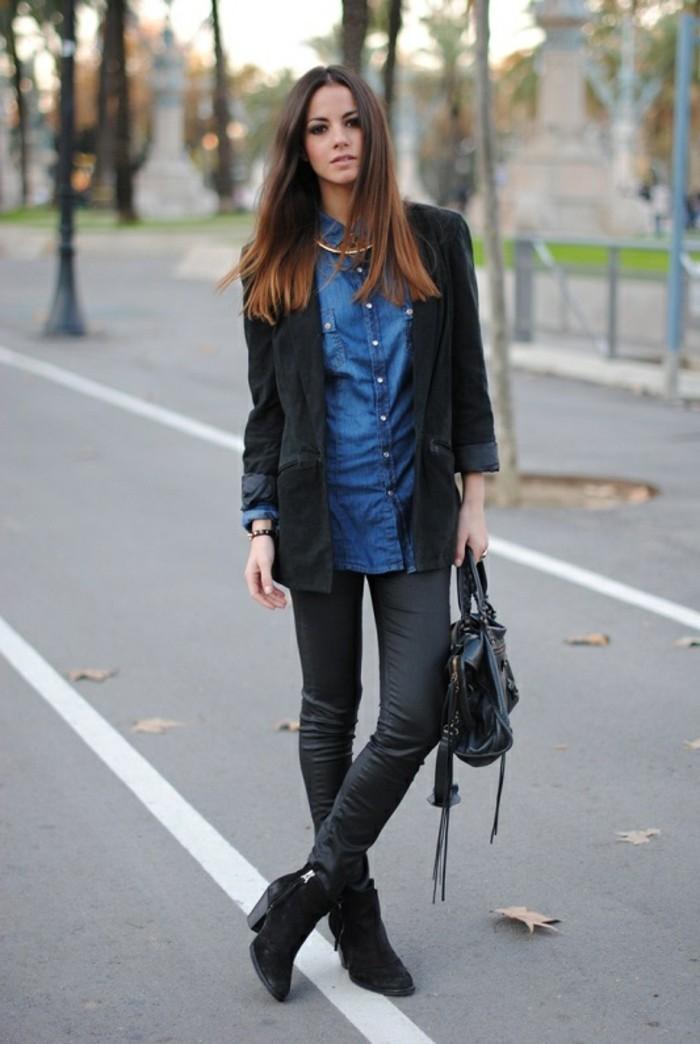 1001 id es avec quoi porter une chemise en jean. Black Bedroom Furniture Sets. Home Design Ideas