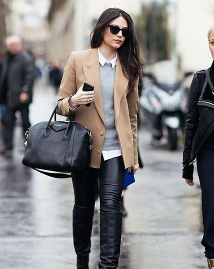 code-vestimentaire-pantalon-et-sac-à-main-noirs-pull-over-gris-chemise-blanche-veste-beige