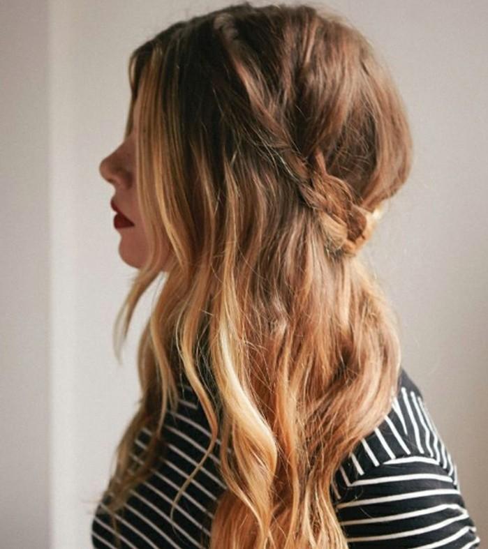coiffure-romantique-tresse-boho-style-ombre-blouse-en-noir-et-blanc-levres-rouges