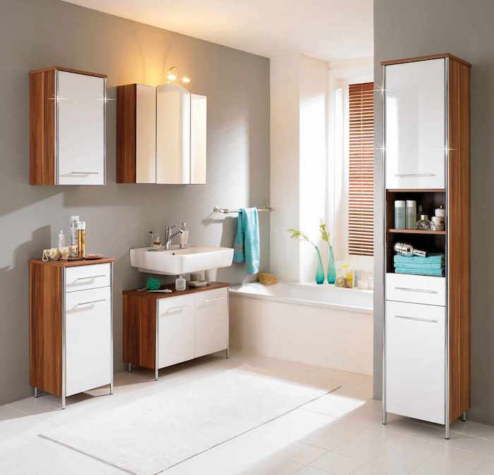 colonne de salle de bain meuble ensemble etageres - Meuble Pour Lavabo Avec Colonne