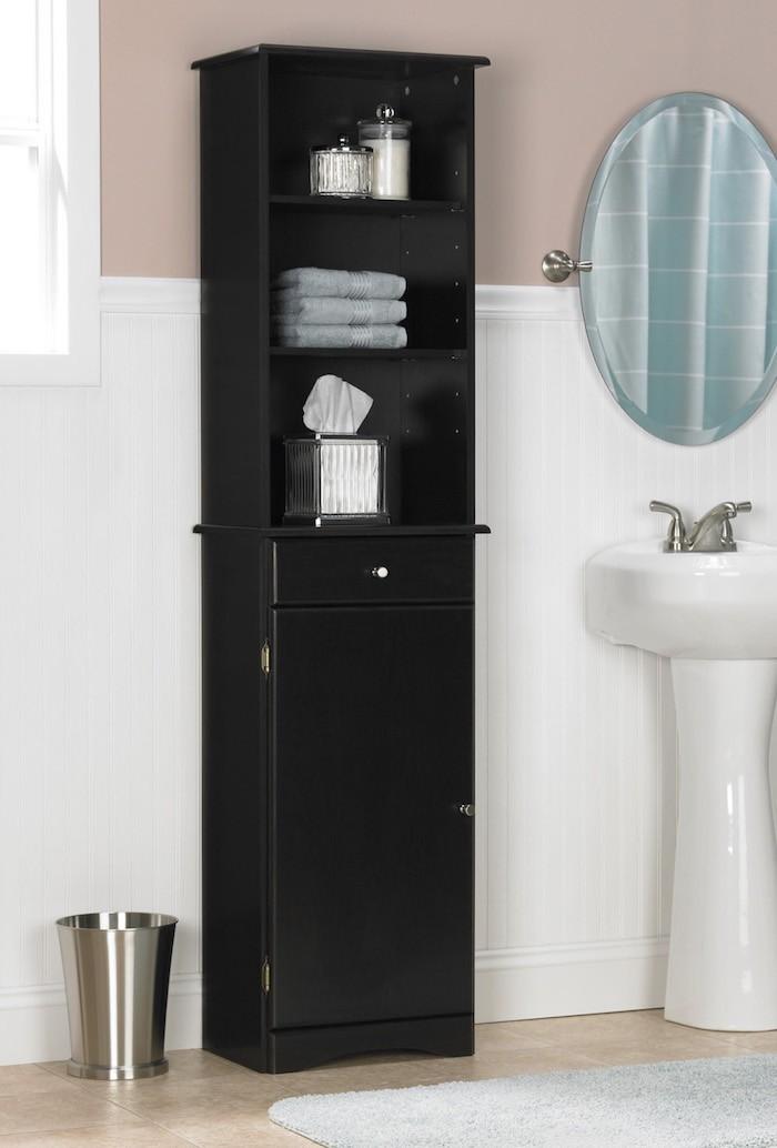 colonne-salle-de-bain-noir-laque-etagere-colonne-ikea-rangement-pas-cher-armoire-de-toilette-ikea