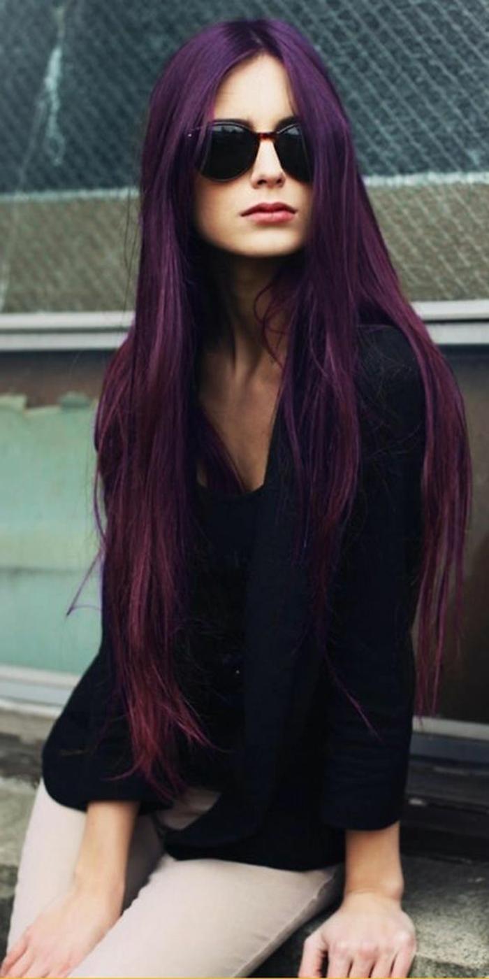 coloration violette cheveux longs colors violettes teintures originales - Coloration Violet Sur Cheveux Noir