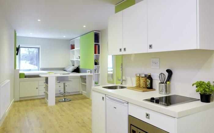 comment-amenager-un-studio-en-blanc-et-vert-cuisine-bien-equipee-lit-superpose