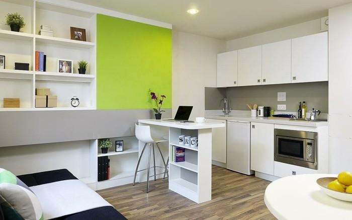 comment-amenager-un-studio-en-gris-et-blanc-etagere-murale-ilot-centrale