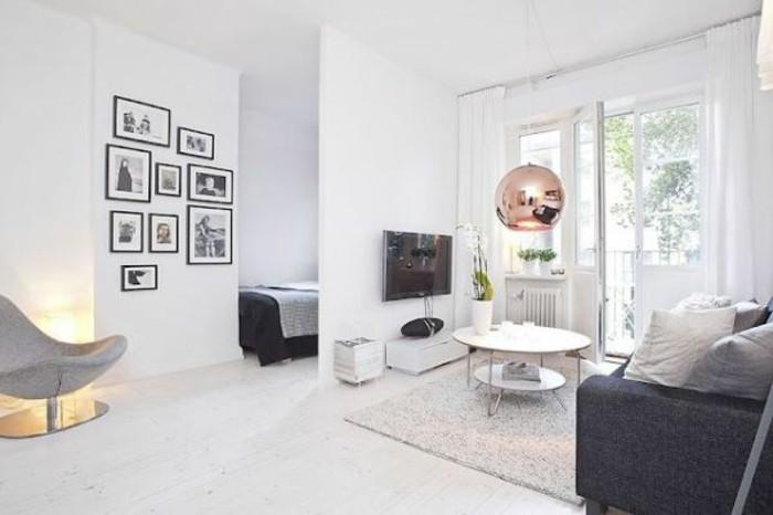 comment-amenager-un-studio-fauteuil-confortable-canape-et-lit-en-gris