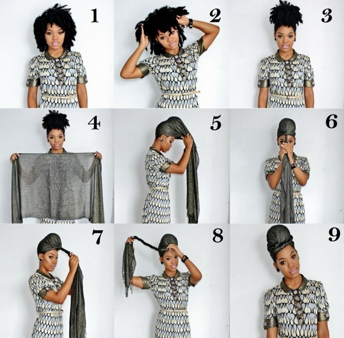 comment-attacher-un-foulard-coiffure-turban-cheveux-crépus-noirs-blouse-gris-blanc