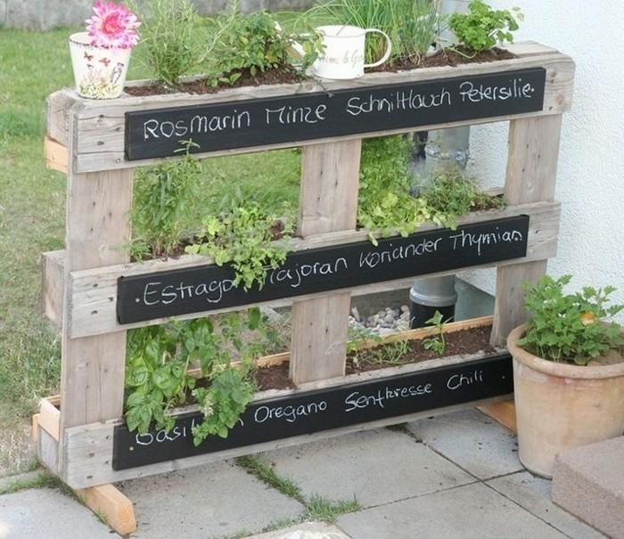 Le mur v g tal en palette id es originales pour un jardin vertical r cup - Jardiniere en palette ...