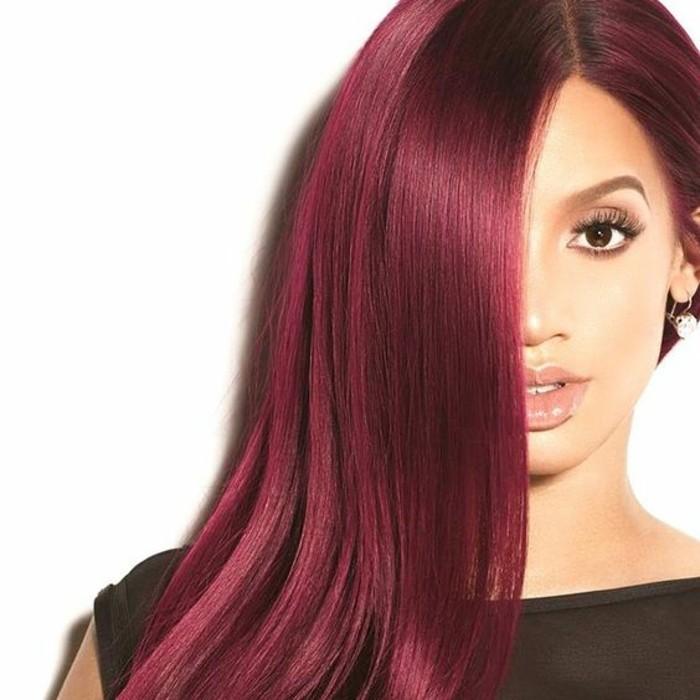 couleur-de-cheveux-rouge-de-cerise-crinière-longue