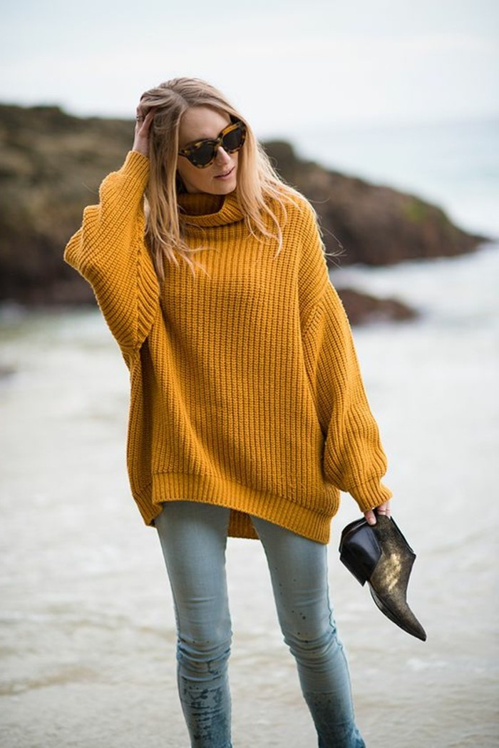 Pull femme couleur moutarde gros pull laine   Zolushca 4fb13c403019