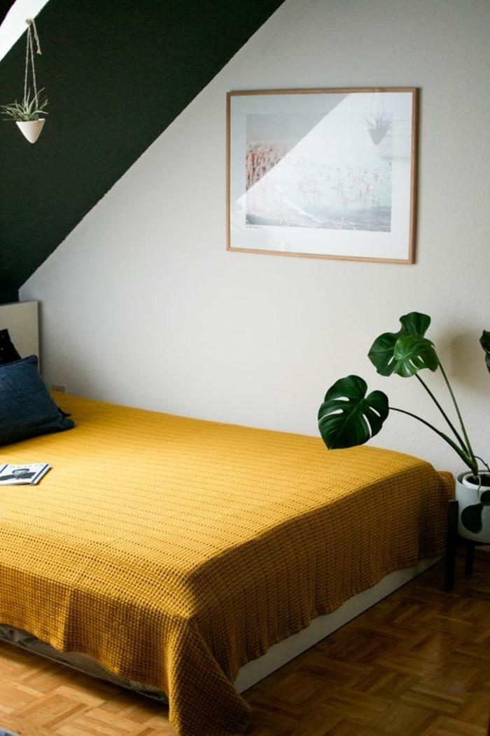 couleur-moutarde-chambre-à-coucher-simple-jaune-et-gris