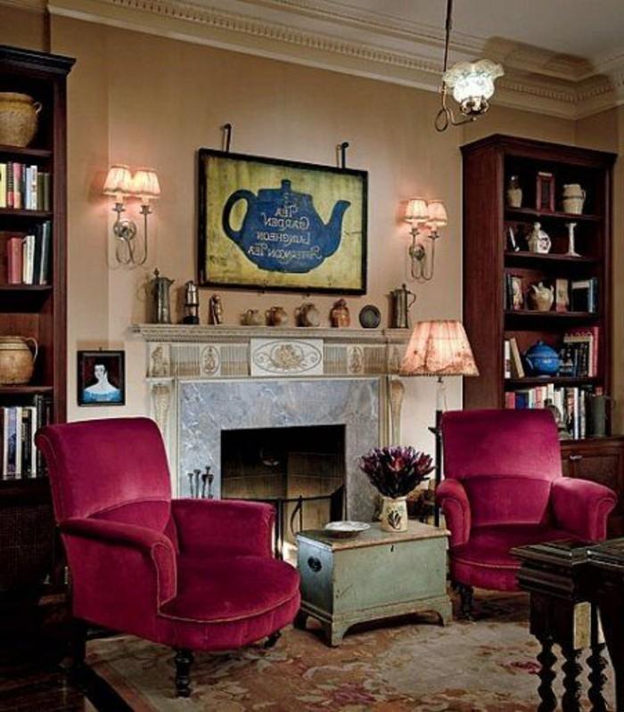 couleur-rose-framboise-deux-fauteuils-roses-près-d'une-cheminée