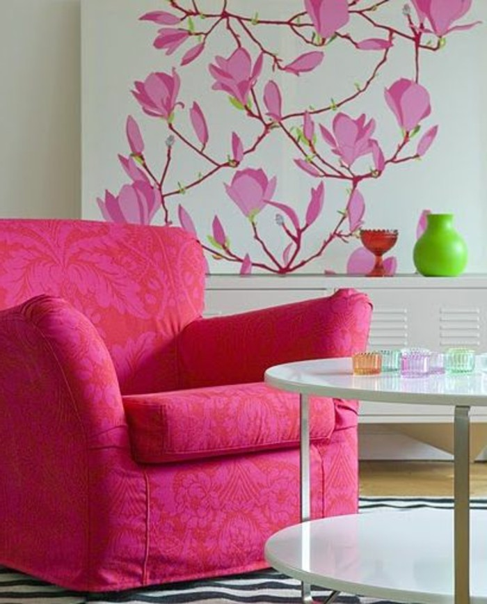 couleur-rose-framboise-fauteuil-rose-vive