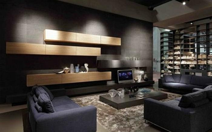 déco-salon-gris-et-noir-et-bois-tapis-couleur-taupe