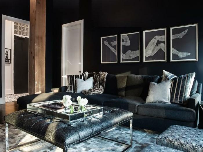 déco-salon-gris-et-noir-pouf-ottoman-peintures-originales