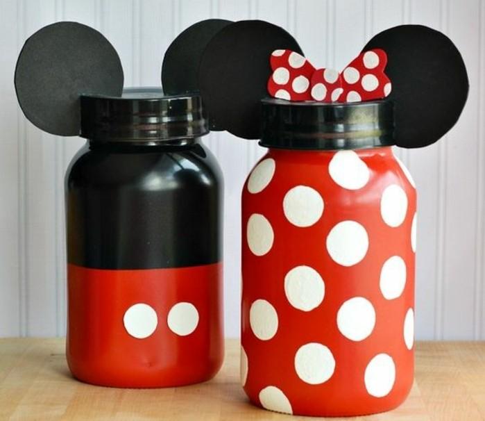 décoration-pot-de-confiture-inspiration-Mickey-Mouse-ruban-en-carton