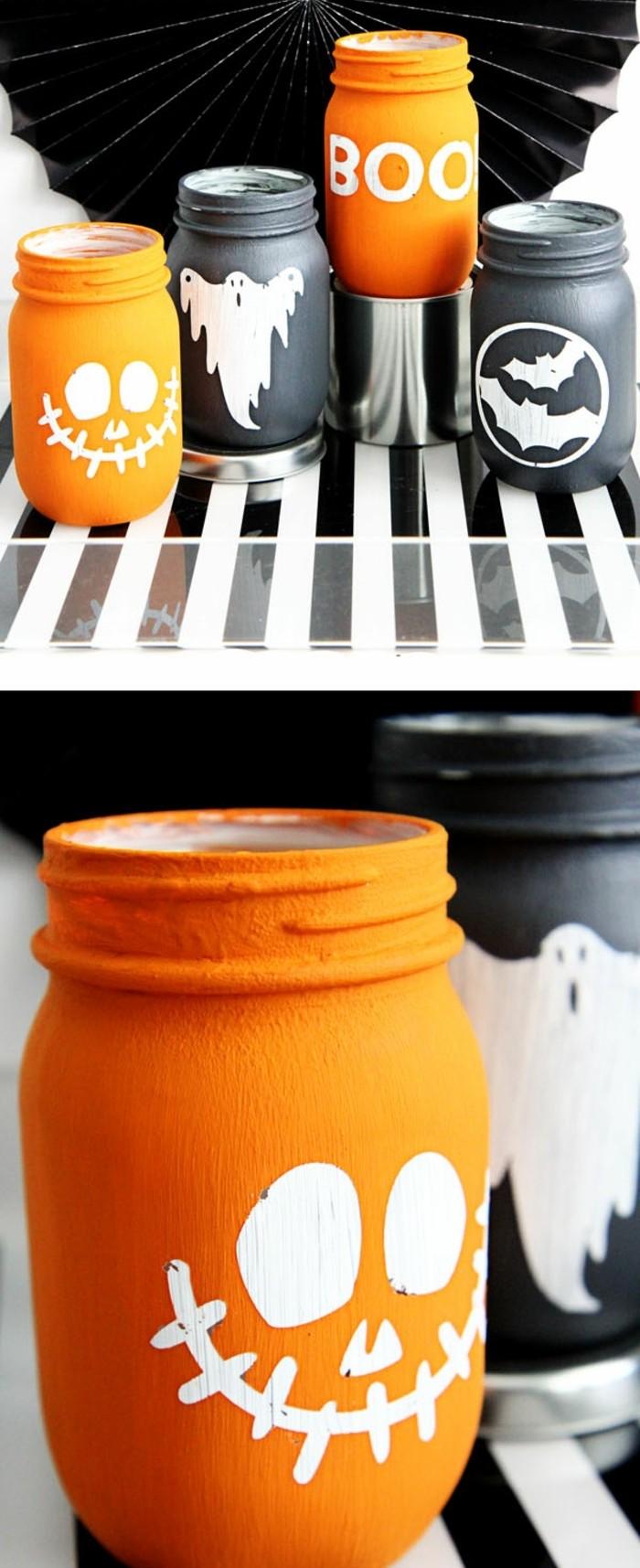 décoration-pot-de-confiture-inspiration-halloween-bocaux-peints-en-noir-et-orange