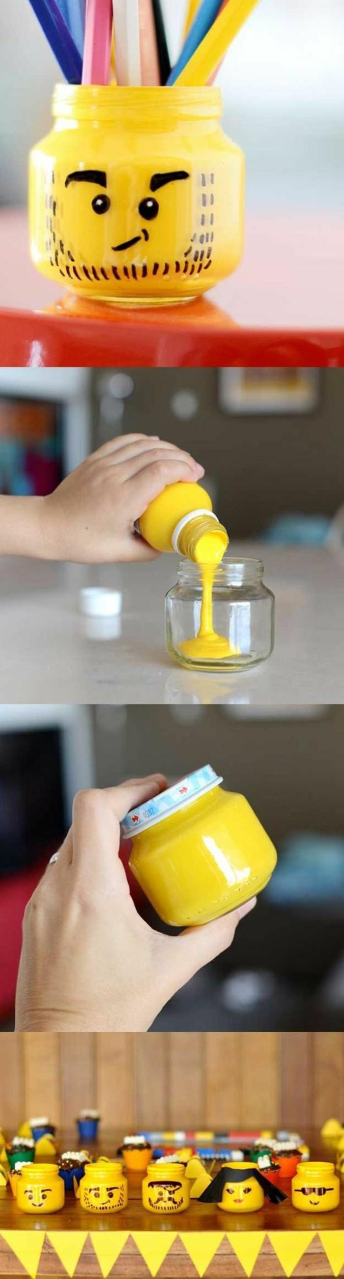 décoration-pot-de-confiture-peinture-jaune-smileys-crayons-accessoires-bureaux