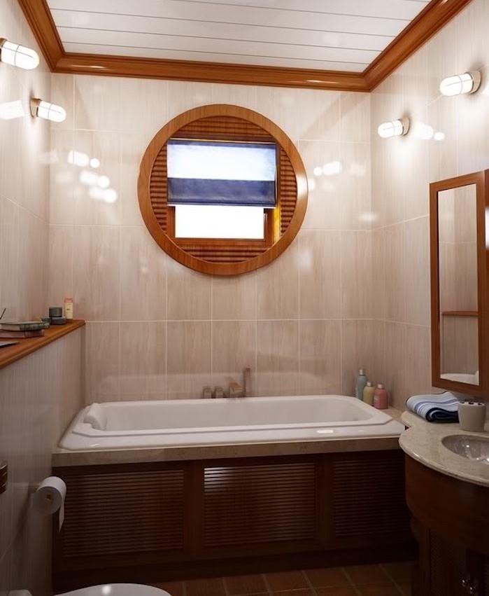 décoration petite salle de bain avec baignoire 5m2 deco bateau hublot