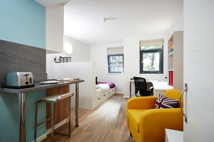 deco-appartement-petit-espace-studio-fauteuil-jaune-confortable-bureau