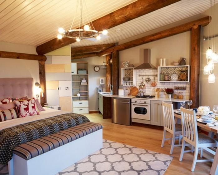 deco-appartement-poutres-en-bois-banc-de-repos-en-cuir-table-a-manger