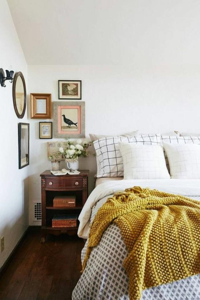 deco-jaune-moutarde-jeté-de-li-jaune-chambre-à-coucher