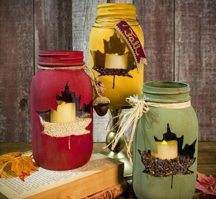 decoration-bocal-en-verre-bougeoirs-grains-feuilles-séchés-peinture-ruban-ficelle-signe