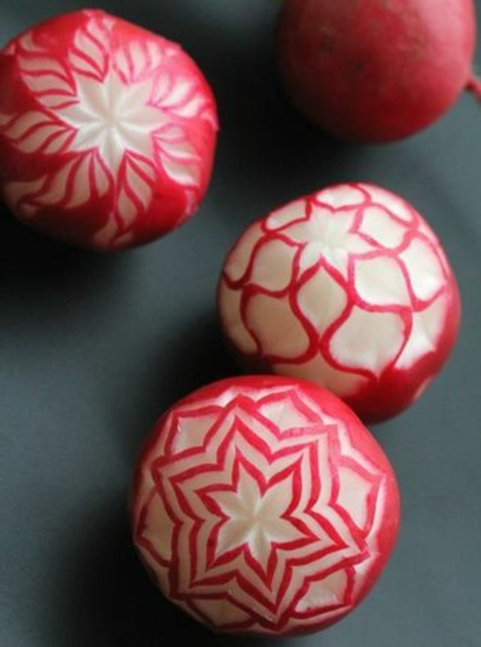 Decoration Legumes Radis : Idées de sculpture sur fruits et légumes