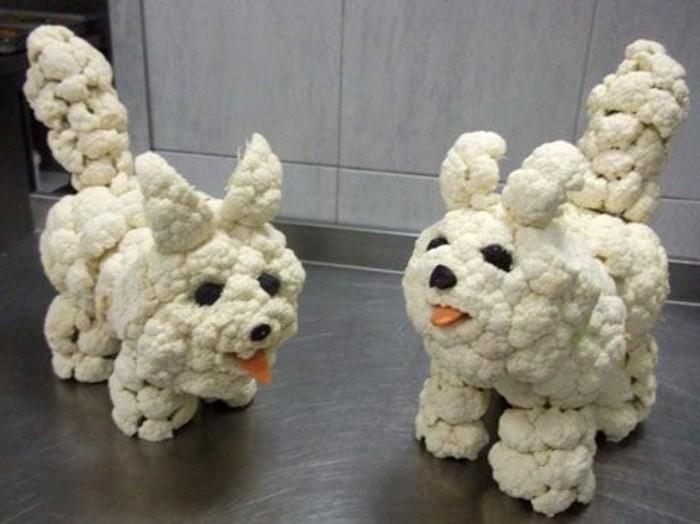 decoration-legumes-deux-petits-chiens-en-chou-fleur