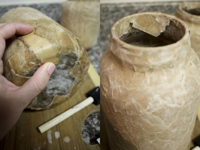 des-bandes-de-papier-kraft-sur-un-pot-en-pierre-recette-papier-maché-a-realiser-pour-decorer-un-objet