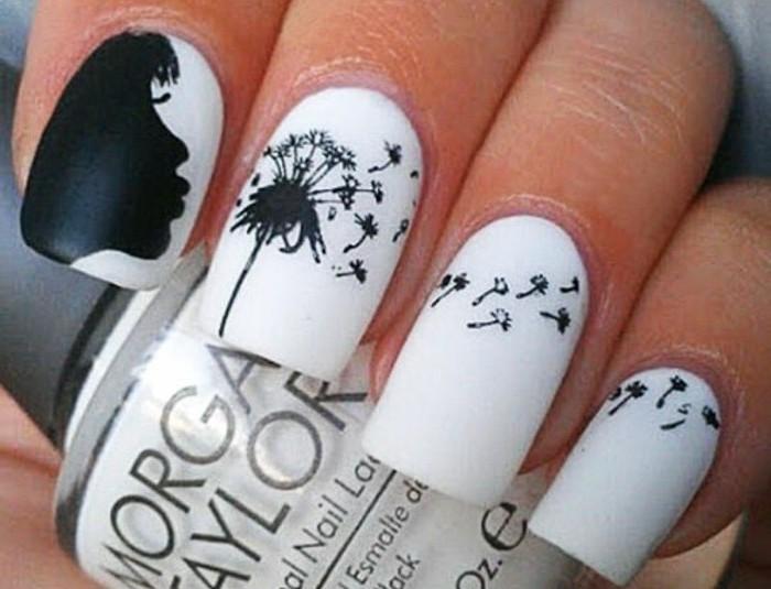 dessin-sur-ongle-manucure-blanche-en-decoration-noire-fille-pissenlits