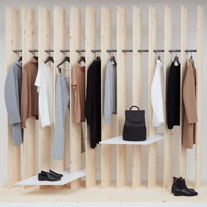 dressing design en bois presentoire penderie originale