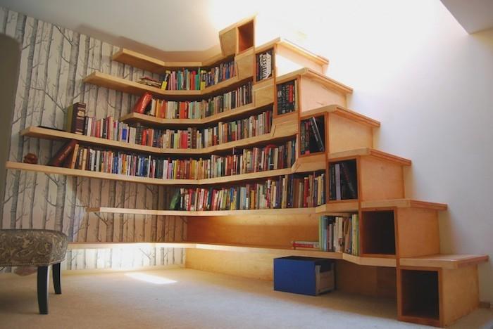 1001 Idees Bibliotheque Escalier Des Marches Et Des