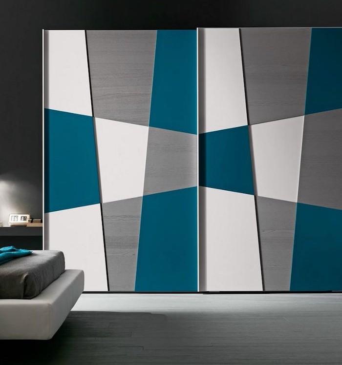 etagere chambre armoire vetements porte coulissante couleurs original