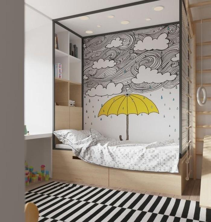 exemple-de-decoration-scandinave-lit-en-bois-avec-une-decoration-murale-dessinee-paysage-pluvieux-rangements-tapis-a-rayures