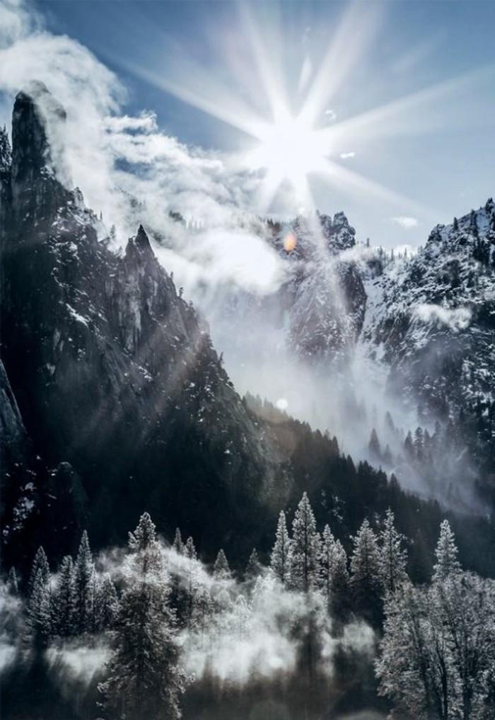 fonds-d-écran-hiver-montagne-et-arbres-enneigés-soleil-brillant-brume