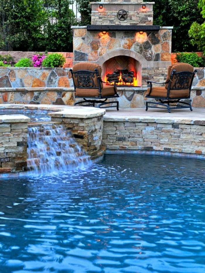 1001 mod les spectaculaires de piscine avec cascade - Coin barbecue jardin ...